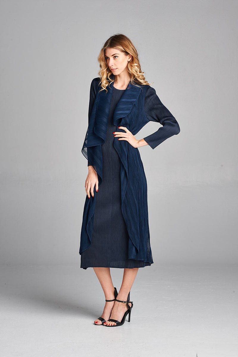 Pleated Navy Nabi Wing Collar Cardigan Style Dress 95500