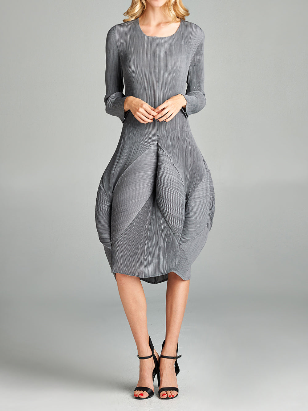 Pleated Grey Blooming Look  Dress 9686