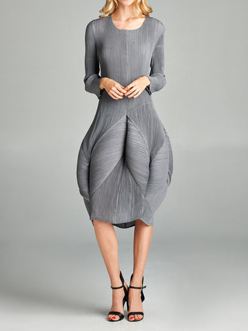 Pleated Fazil Dress Black/Grey 87610
