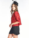 Pleated Red Roza  Jacket 3/4 sleeve 9766