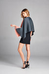 Pleated Abiola Pink Red Block Poncho GJ-5622
