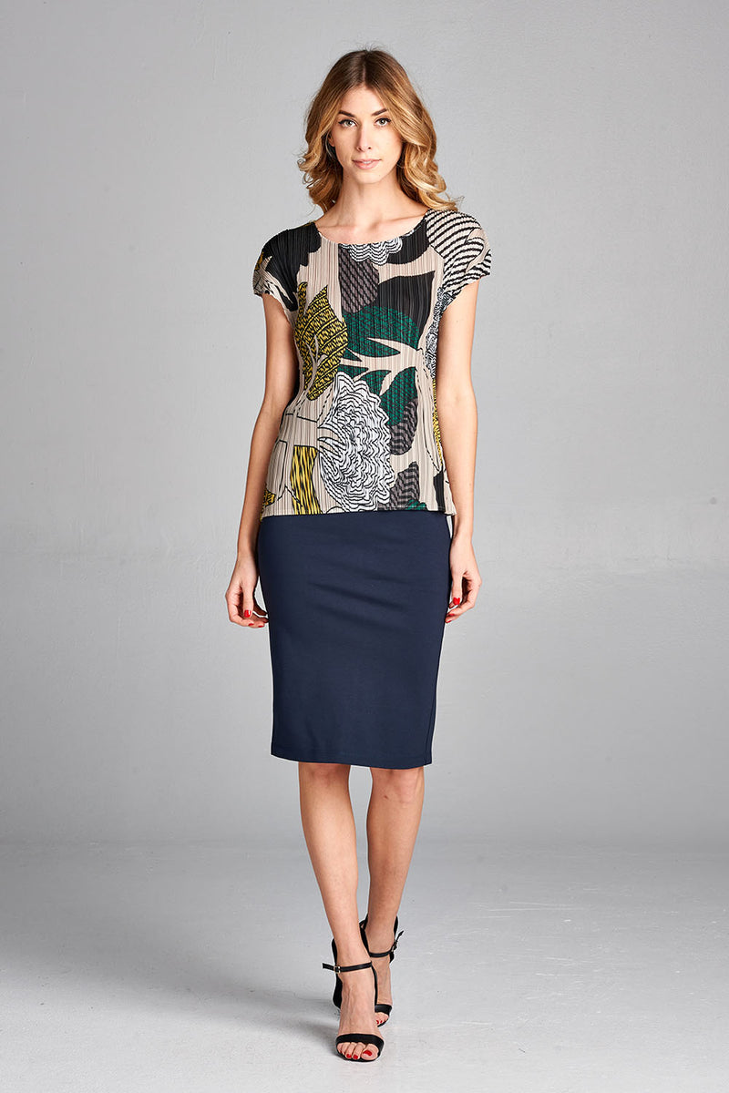 Pleated Beige Tree Printed  Top j665