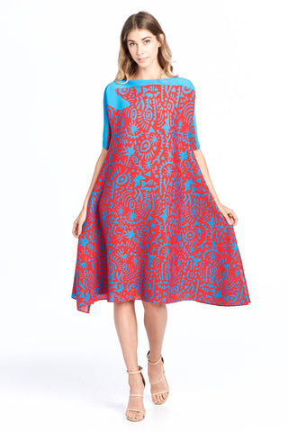Pleated Leena Flower Tunic  Top Blue 6326