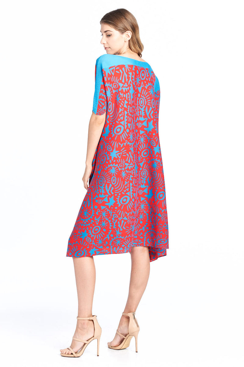 Pleated Amadi Printed Dress Red 87585