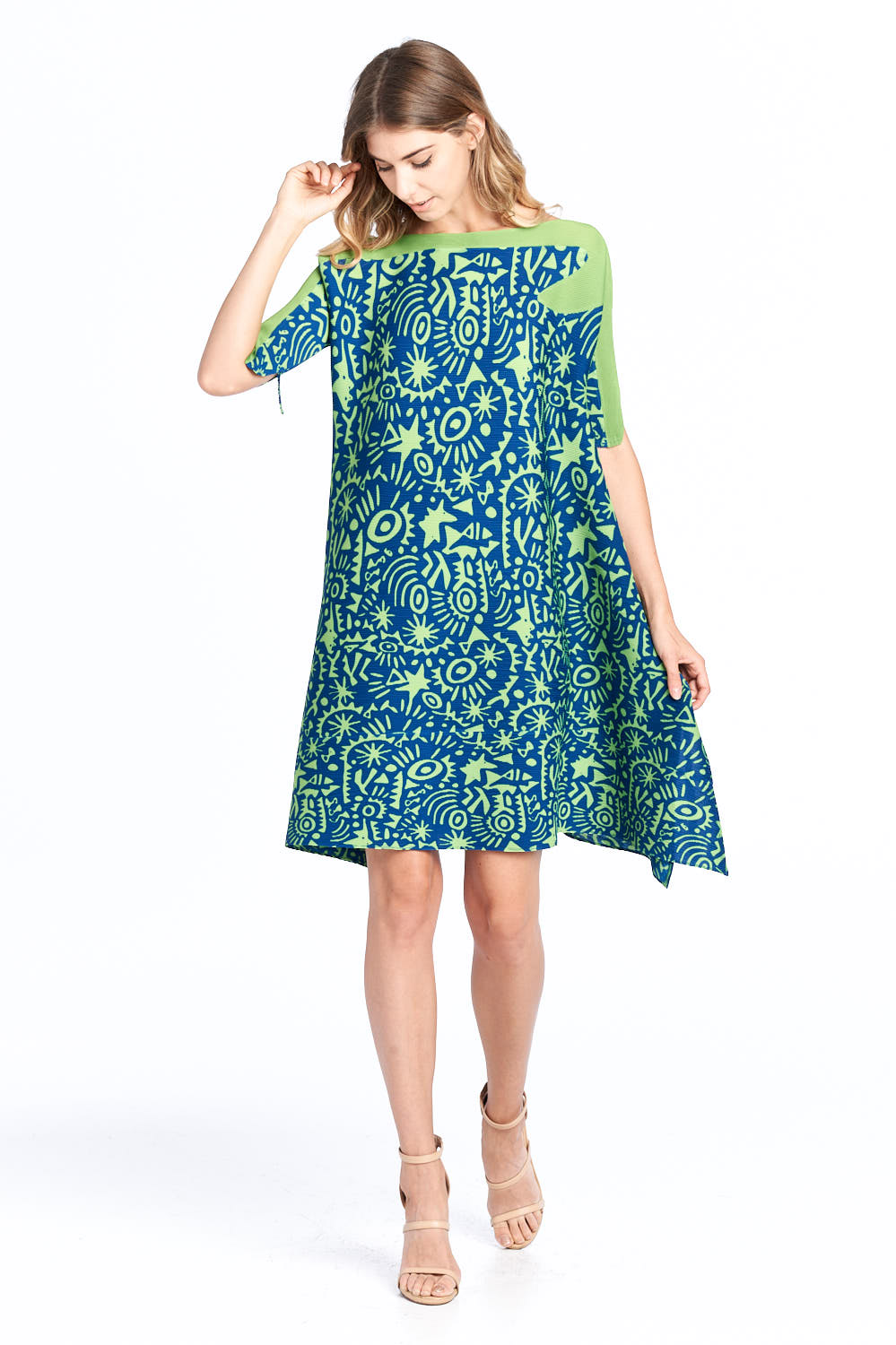 Pleated Amadi Printed Dress Green 87585