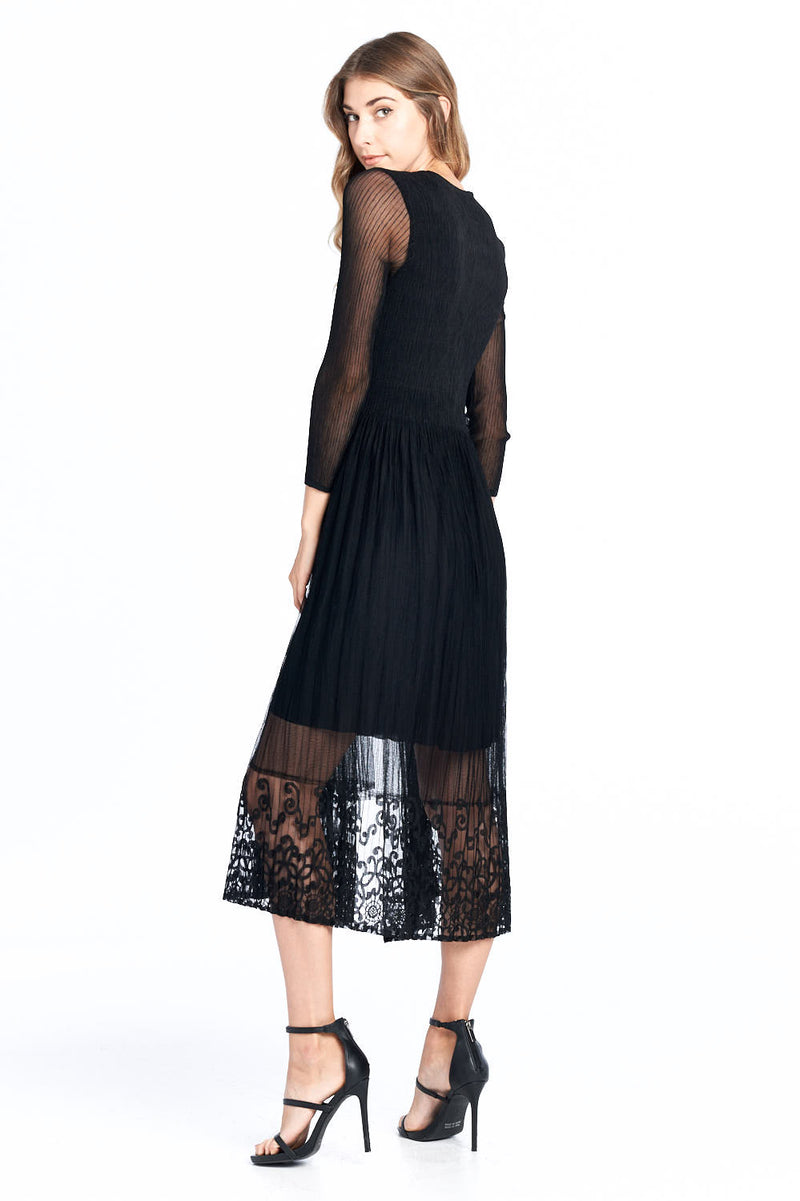 Pleated Adona Lace Layered Dress Black 18878