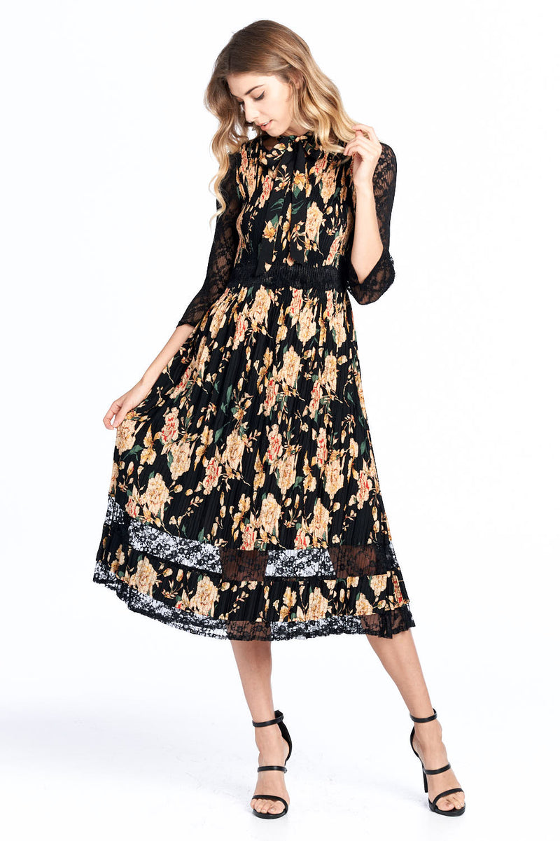 Pleated Feminine Floral Dress Yellow 18568