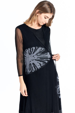 Pleated Sun Flower  Lace Layered  Dress Black 18821
