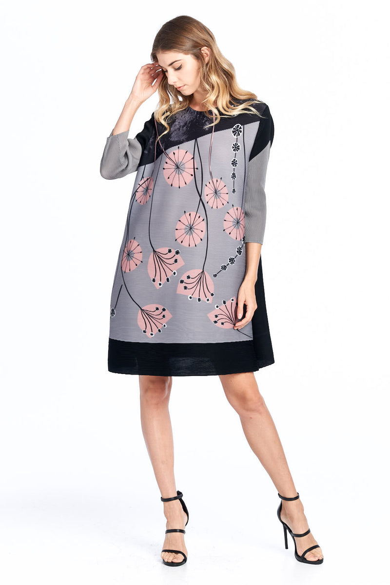 Pleated Gyasi  Flower Dress Grey 87620