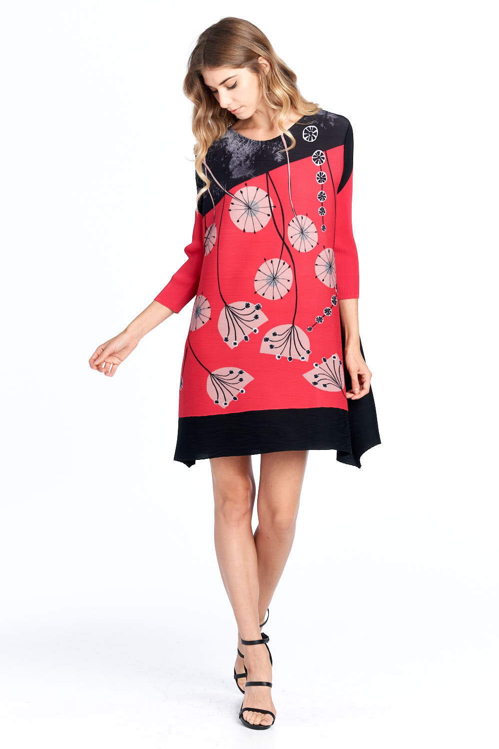 Pleated Gyasi  Flower Dress Red 87620