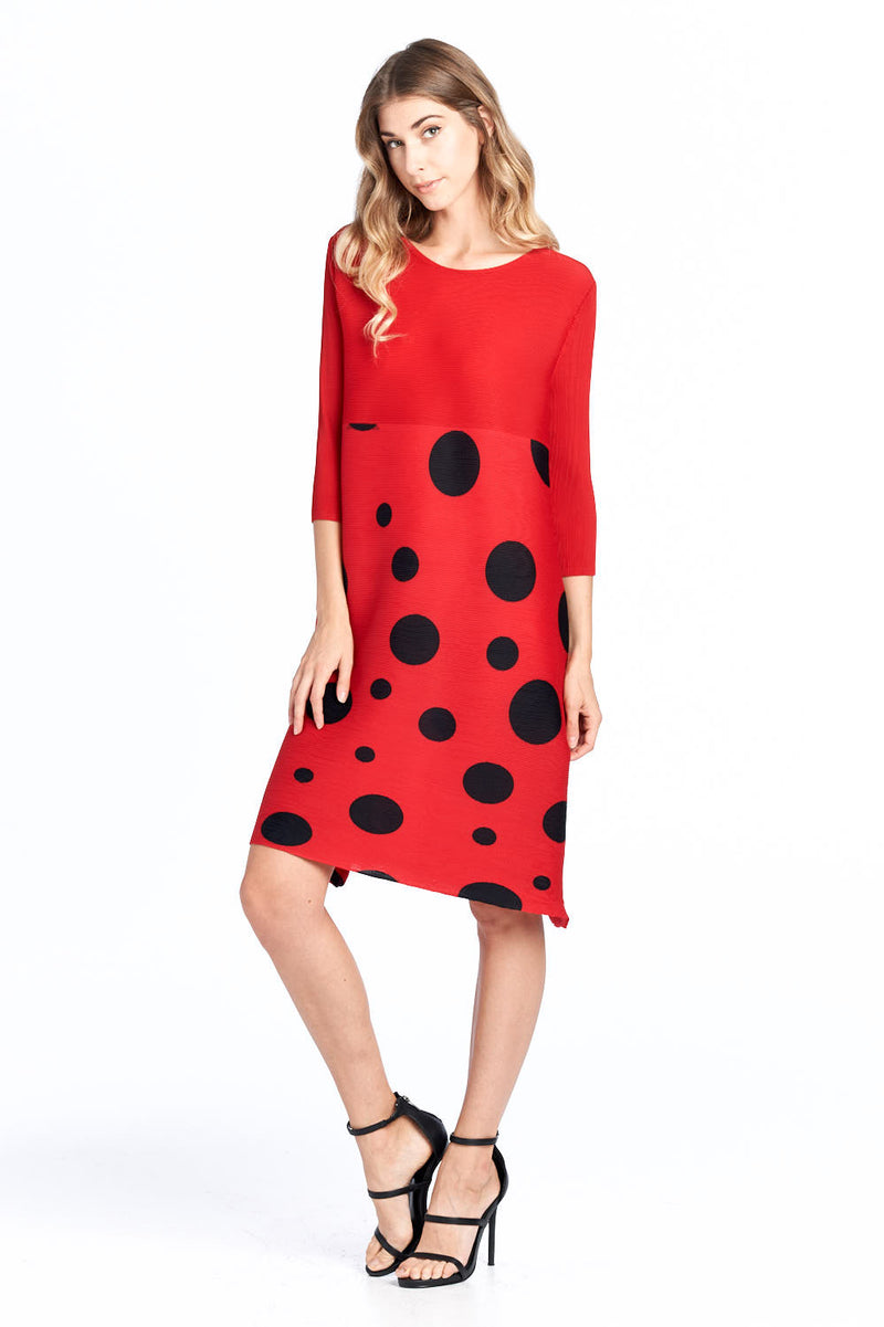Pleated Love Polka Dots Red Dress 87608