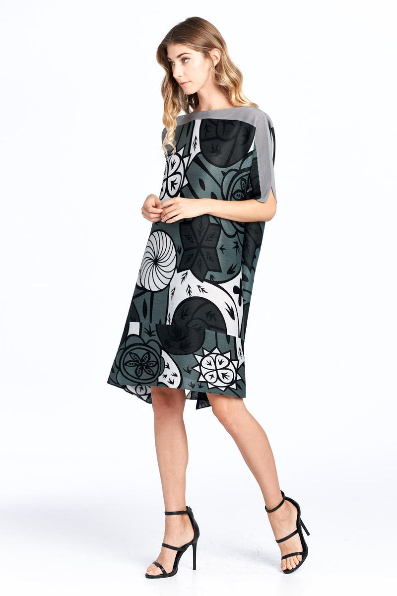 Pleated Amadi Printed Dress Grey 87585