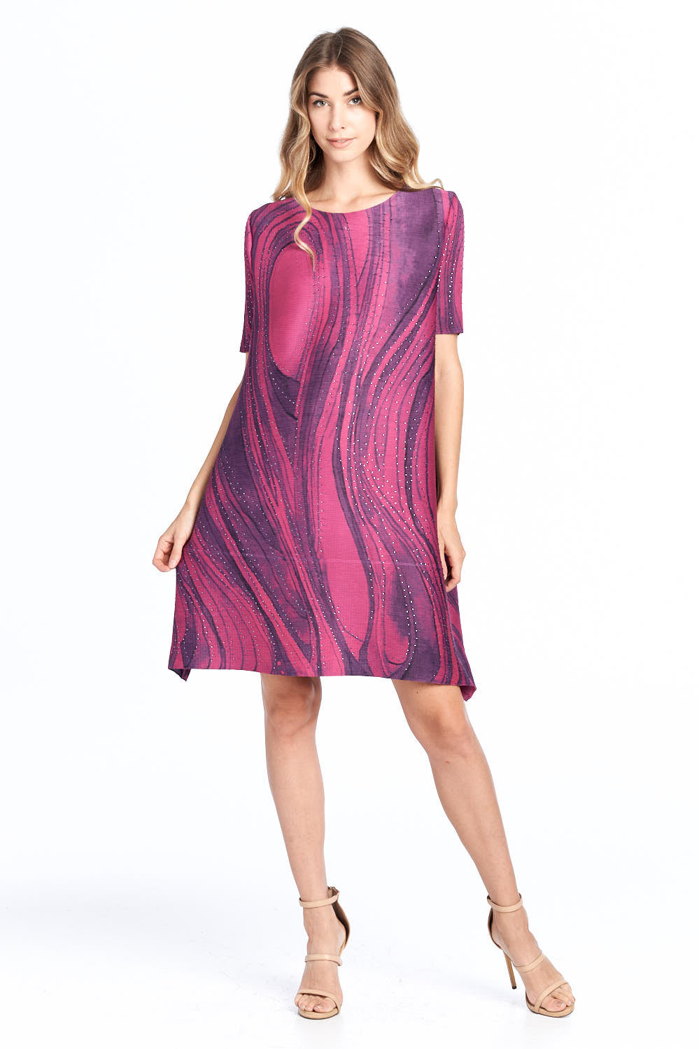 Pleated Chika Biz Dress Purple 16599-1