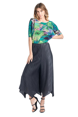 Pleated Bluish wide Black Pants 83069