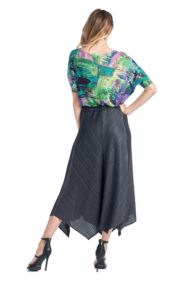 Pleated Black Bluish wide Pants 83069