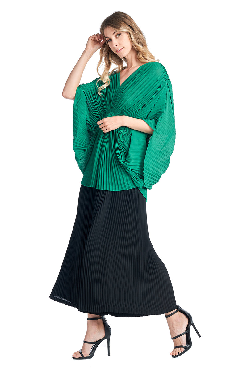 Pleated Wide leg Black Pants 83065
