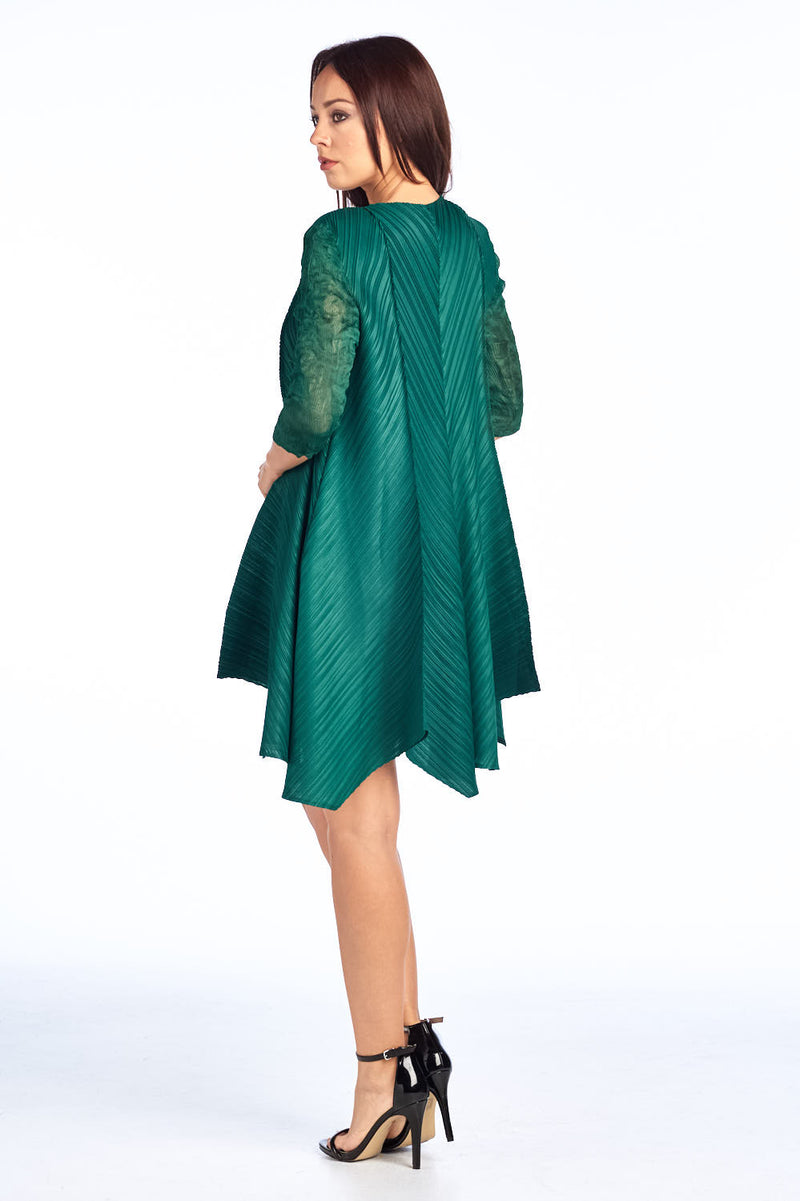 Pleated Elsa  Dress  Green 97009
