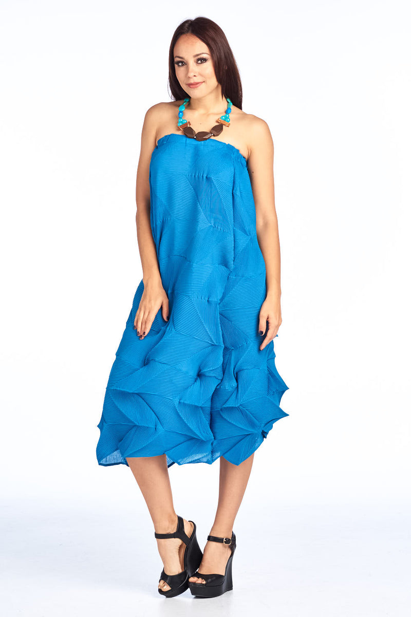 Pleated Blue Freja  Off shoulder Dress  7912
