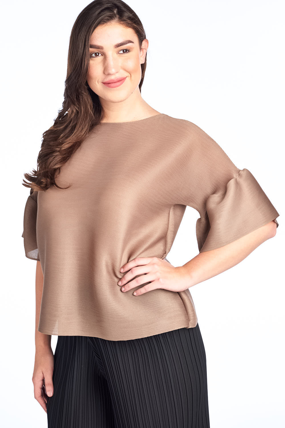 Pleated  Brown Audre Top with Ruffle Sleeve  60422