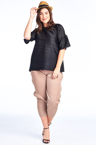 Pleated Black Dziko Short Sleeve Top 4050