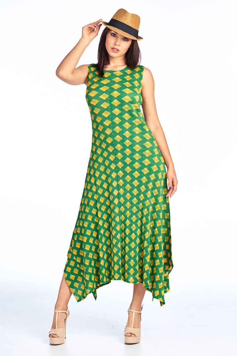 Pleated Sofia  Dress Green 8054