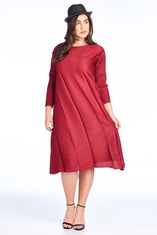 Pleaed  Morowa Rose Flower  Dress Red 9933