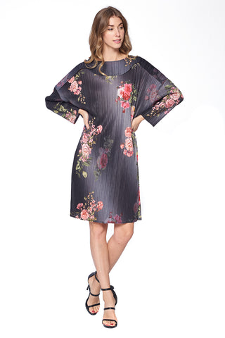 Pleated Leena Flower Tunic  Top Pink 6326