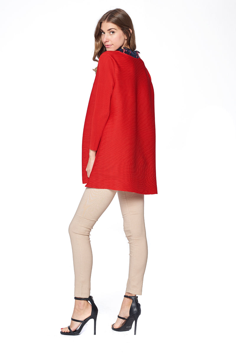 Pleated Daire Ruffle neck Dress Red 87533-2