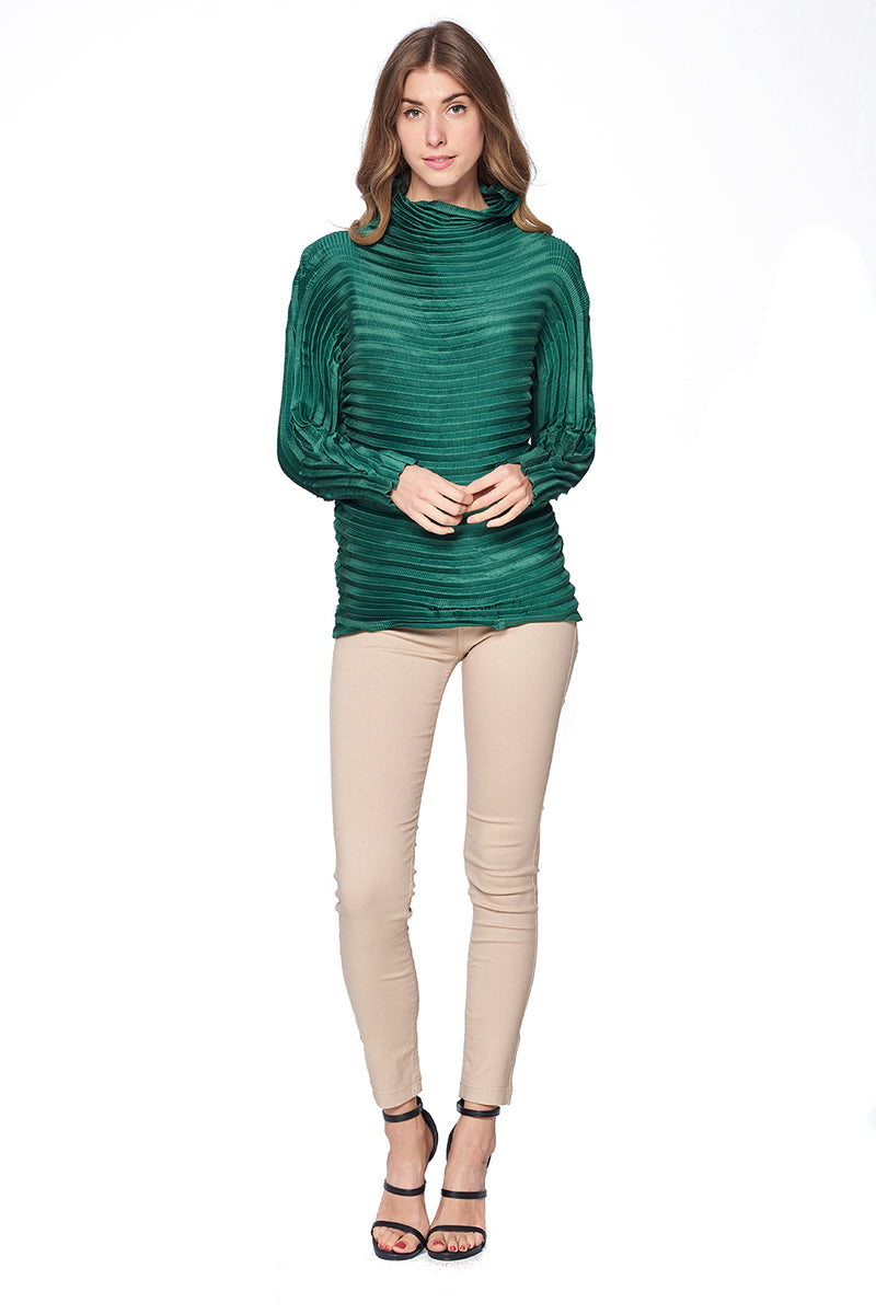 Pleated Diara Top Green L474-2