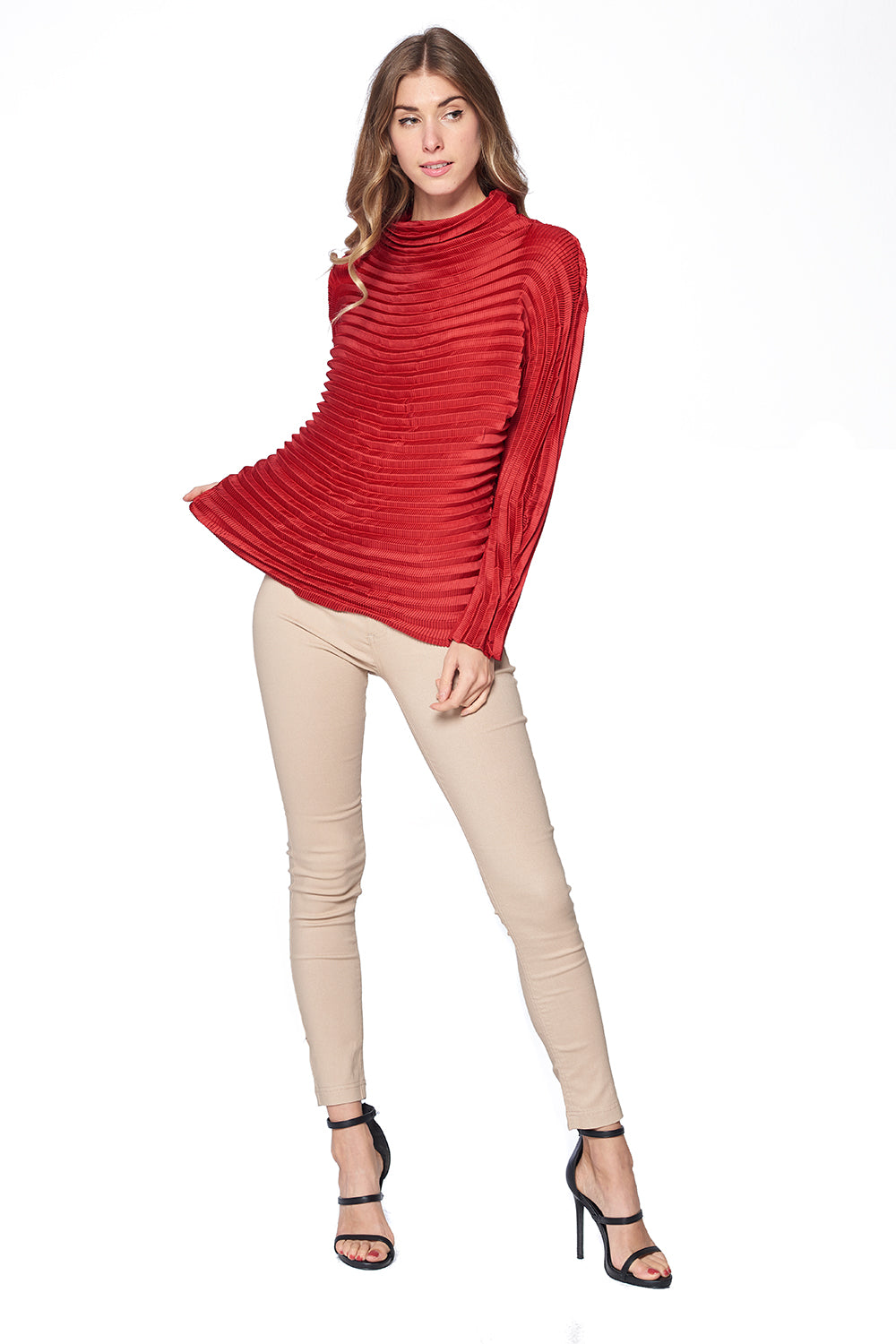 Pleated Diara Top Red L474-2