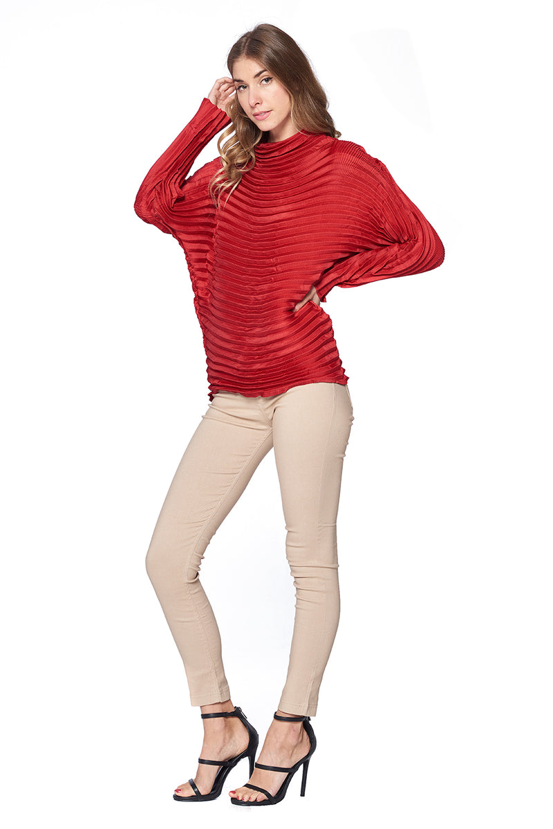 Pleated Diara Top Red L 474-2