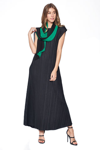 Pleated Arjana See Through  Dress Dark Green 14576-1