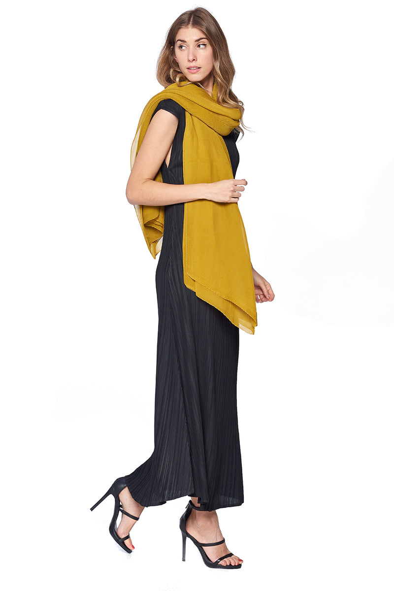 Pleated  Scarf 12120 Yellow