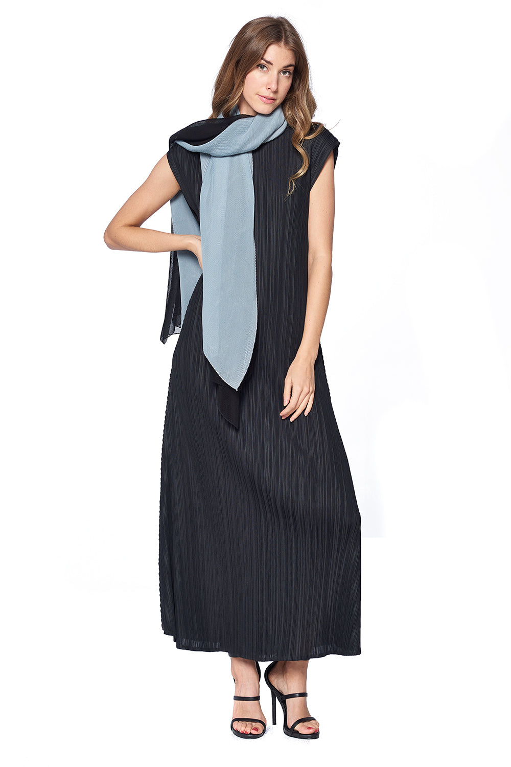 Pleated Scarf 12123 Grey