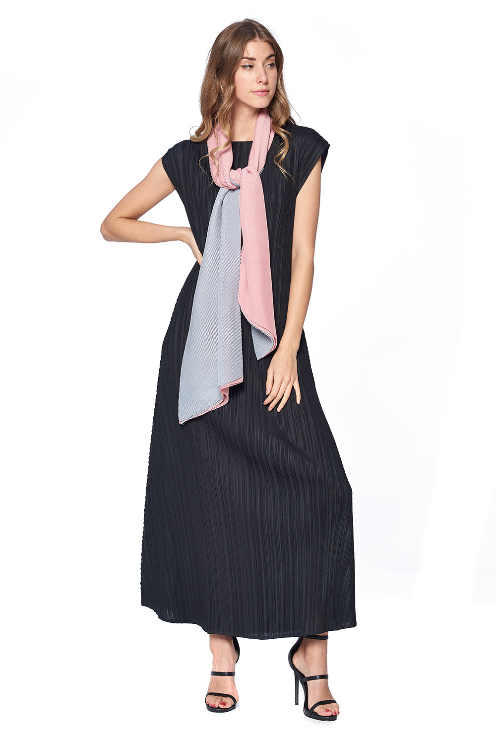 Pleated Scarf 12126 Grey