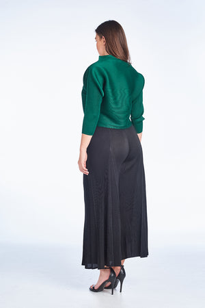 Pleated Tyra  3/4 sleeve Top Green 60549