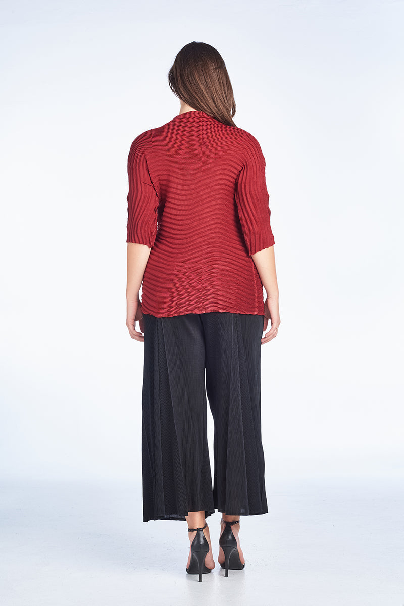 Pleated Lowell Tunic Top Red 6095