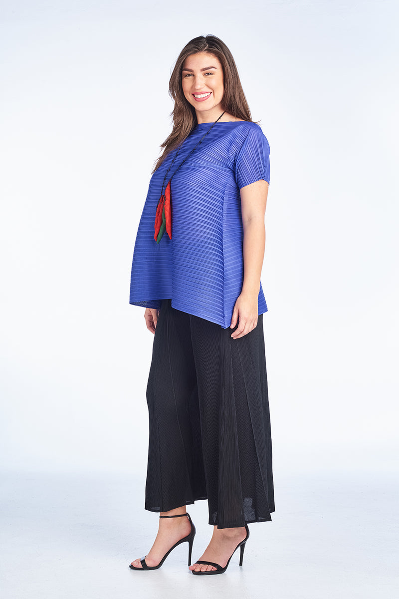 Blue Tunic Pleated Dress with Short Sleeve Plus