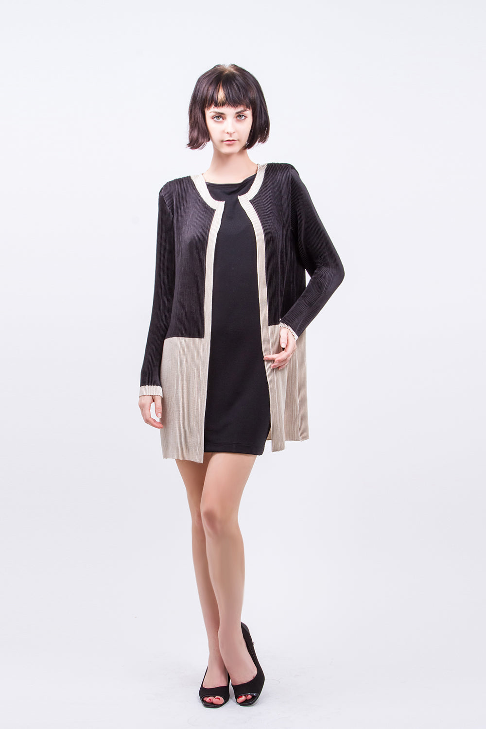 Long Jacket Black And Beige  OP15J