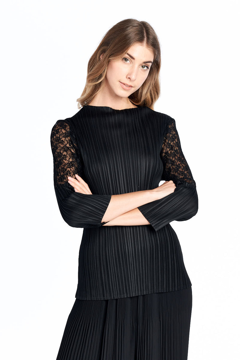 Pleated Femi Lace Long Sleeve Top Black 6223