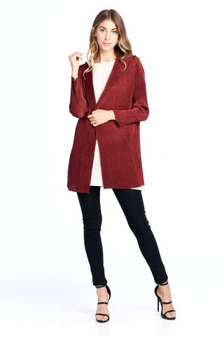 Pleated Chipo String Cardigan Red 5820
