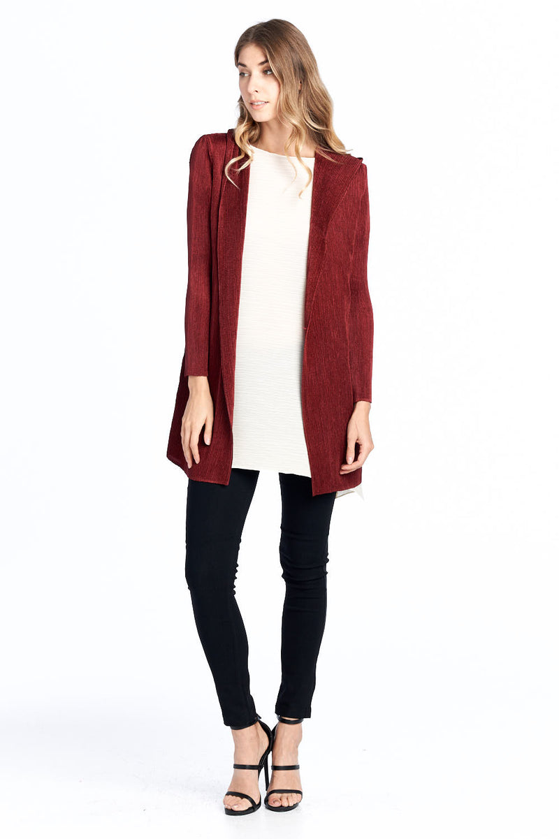 Pleated Noble hooded  Cardigan Red 81603