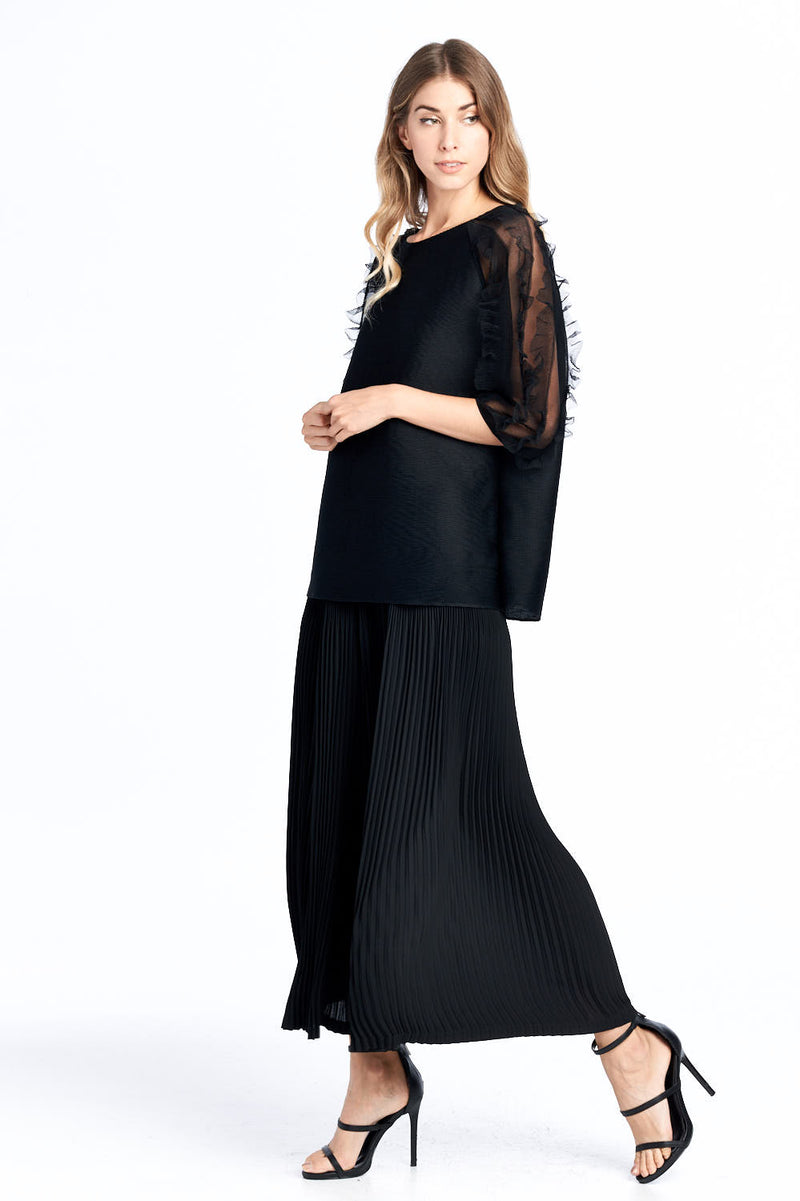 Pleated See Through Lace Sleeve Top Black 16797-1