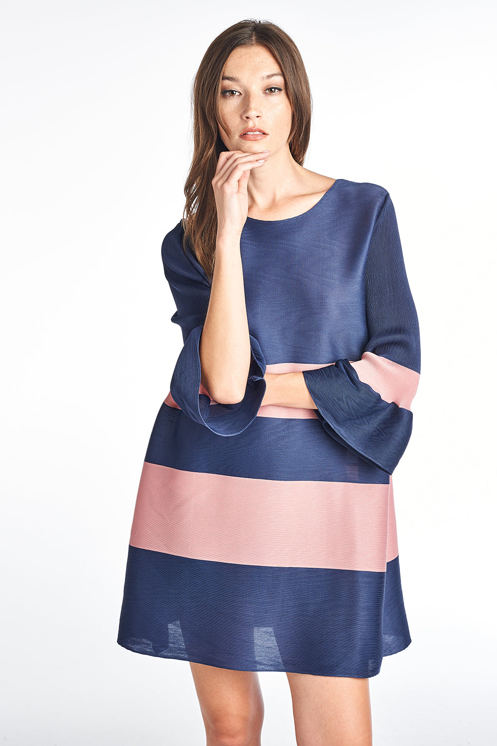 Copy of Pleated Lola Stripe Dress 3/4 bell sleeve Pink 60556