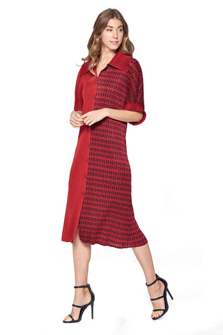 Pleated Abeo  Aline Mini Dress Red 693