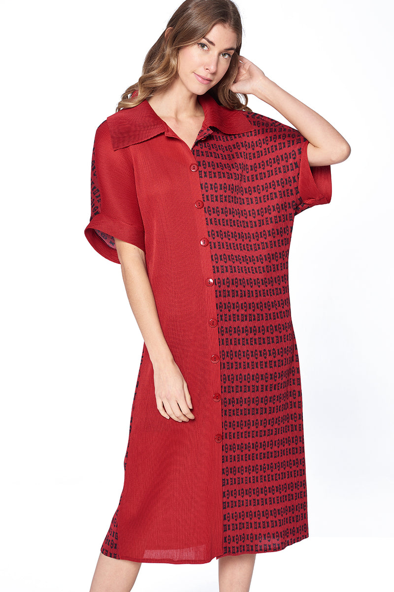 Pleated Aga Dress Red 61002