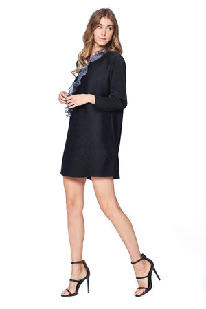 Pleated Daire Ruffle neck Tunic Black 87533-2