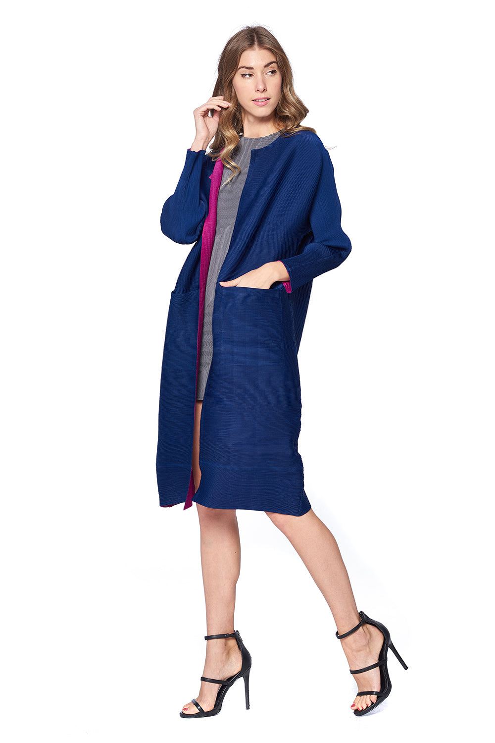 Pleated Akhtar Jacket Navy 81288