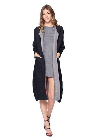Pleated Grey Ruffle Sleeve Cardigan 1107-73