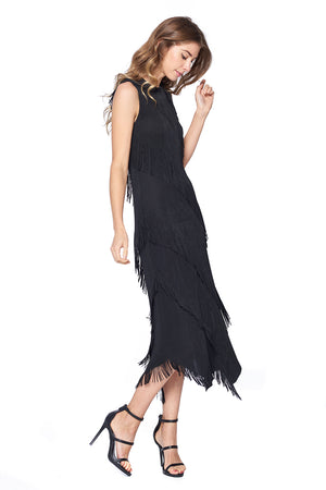 Pleated Aaron Dress Black 87179